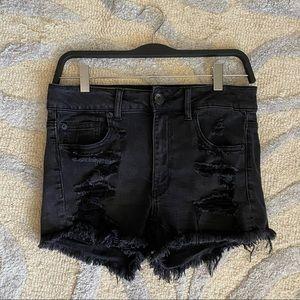 American Eagle Black Jean Shorts w Crochet Pockets